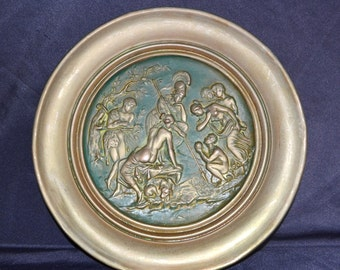 OLD large  rare european  solid copper plate embossed romantic scene very collectible