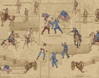 Civil War battle scene on panel.