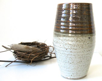 Studio Stoneware Turned Vase • MidCentury Modern Grays Browns Speckled Two Toned • Drip Glaze