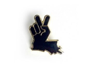 Louisiana Peace Hand Lapel Pin Black