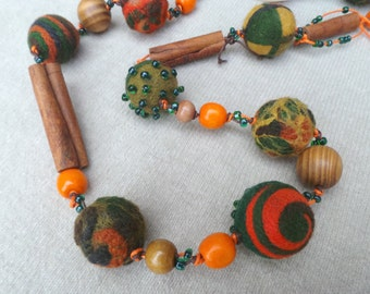 Felt Necklace, Felt Jewelry, Felt beads, Ethno beads, Multicolour