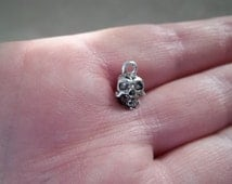 Skull Charms Antique Silver Metal 10mm x 7mm Set of 10 #1030