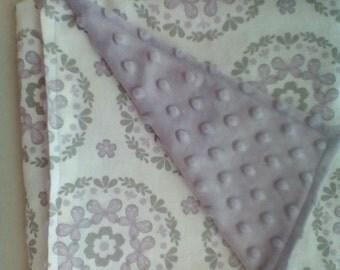 Lavender floral minky blanket
