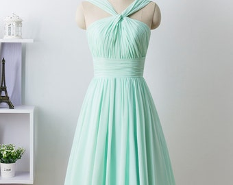 Mint prom dress, Bridesmaid Dress, Short Chiffon formal dress