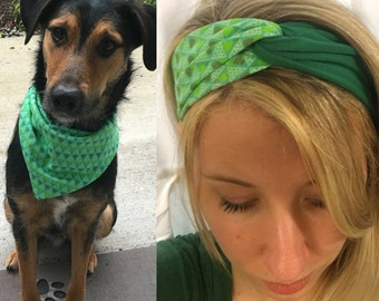 Twist headband with matching reversible dog bandana