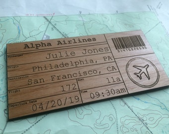 Custom Wood Airline Ticket