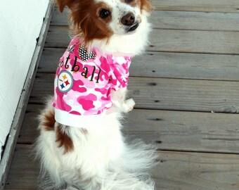 Steelers Pet Clothes / Steelers Dog Shirt / Pink Camo Pet Shirt