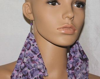 Purple fabric earrings;Dangle earrings;Diva earrings;Unique earrings;Lightweight earrings;Pierced or clip-on earrings