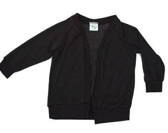baby cardigan, toddler cardi, infant sweater, black jumper