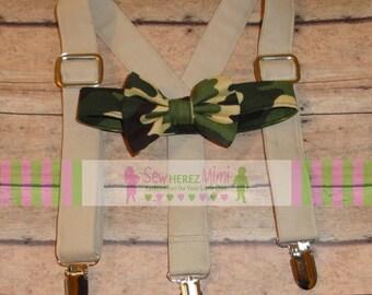 CAMO Khaki SET Military Bow Tie Suspenders Set Infant, Toddler, Child, Thru Size 9 10