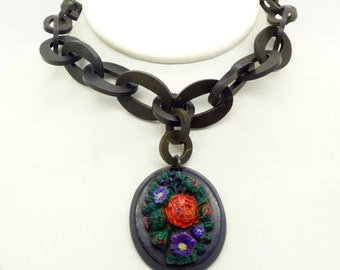 Antique Mourning Gutta Percha Painted Floral Pendant Necklace, Victorian, chain