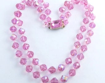 Pink Faceted Glass 2 Strand Beaded Necklace with Crystal Clasp, AB Beads
