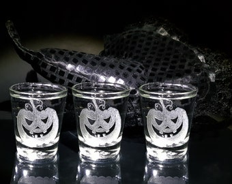 3 Halloween Shot Glasses, Halloween Gifts, Halloween Trick or Treat , HaloweenPresent, Fall, Pumpkin Shot Glasses, Automn, ...