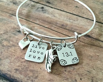 Half Marathon Jewelry-Live Love Run Bracelet with 13.1Lotus Detail ,Sterling Silver Heart and Running Shoe Charms