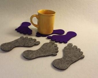 Foot shape  Felt Coaster  Set of 4