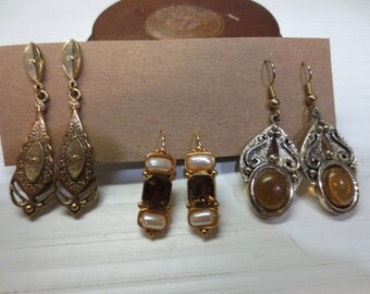 Three Great Pairs of Dangle Earrings With Some Amber Stones