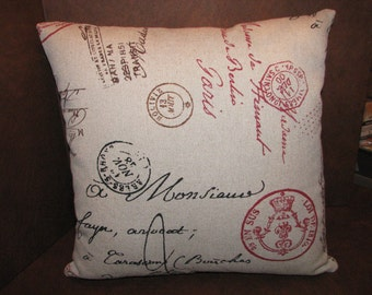 French Postal Script Fabric Pillows