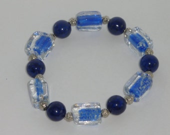 Blue Glass Glow in the Dark  Bead Bracelet