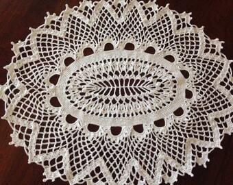 White Oval Doily, Handmade Crochet
