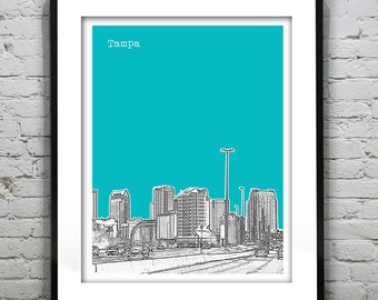 Tampa Florida Skyline Poster Art Print FL Version 2
