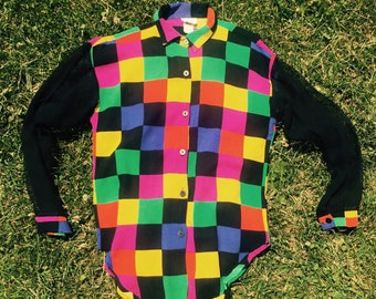 Colorful Grid Longsleeve Button Down Shirt