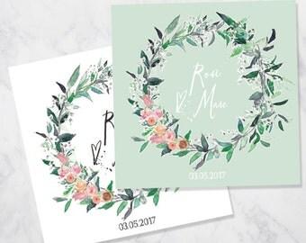 Hand-painted eucalyptus foliage green flowers wreath wedding invitation - SAMPLE