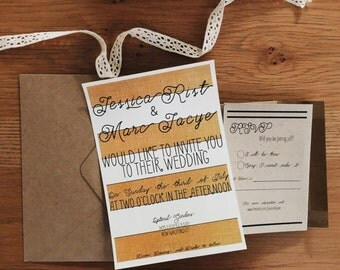 Rustic Yellow & Gold, Black Wedding Invitation on heavy matte cardstock with kraft rsvp cards