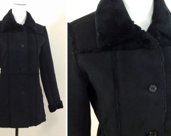 Vintage Black Faux Suede Fleece Lined Women's Jacket