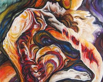 "Called, original mixed media painting, 22"" x 30"""
