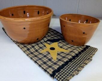 Brown Polka Dot Mixing Bowl Set, Ceramic Stoneware, Pottery Nesting Bowls, Wild Crow Farm Pottery