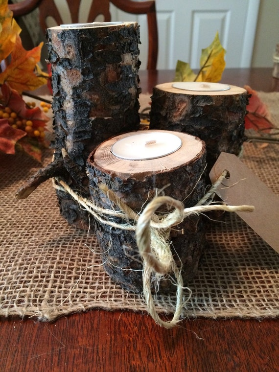 Set of 3 Rustic Lodgepole pine with bark Candleholders!