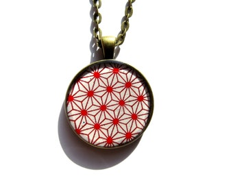 Japanese pattern necklace, Geometric necklace, Japan, Native Jewelry, Folk, Ethnic necklace, Graphic, Minimal, Red and White