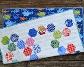 Baby Quilt for sale, baby boy, nursery, baby shower gift, quality patchwork, blue, green, white, shark, hexagon, water theme.