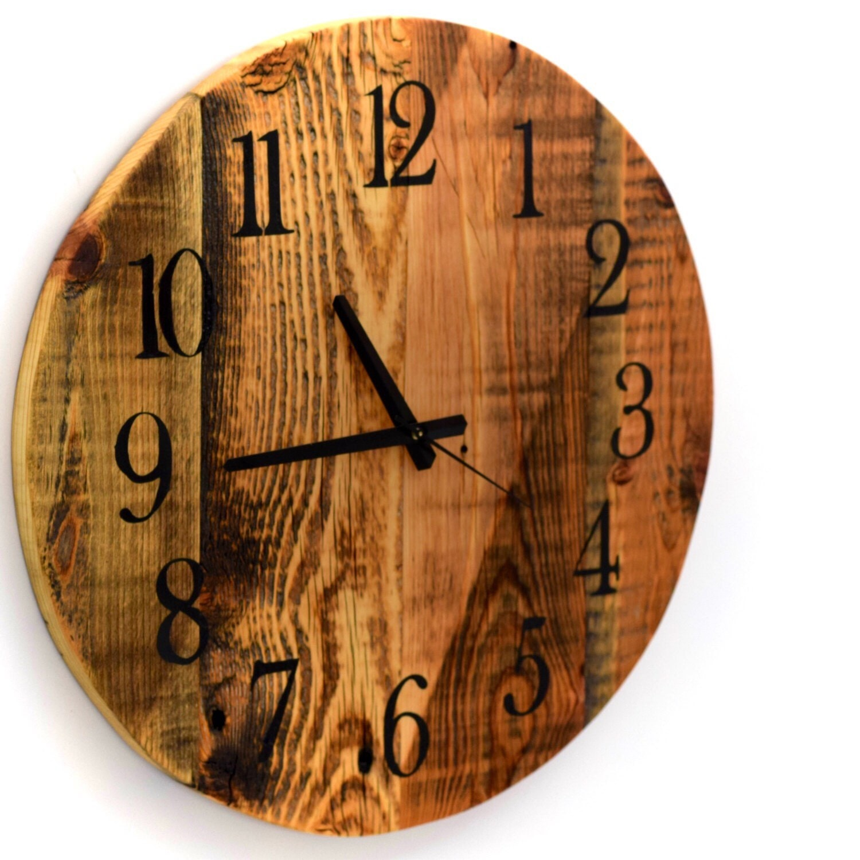 reclaimed barn wood clock large round barn wood wall clock. Black Bedroom Furniture Sets. Home Design Ideas
