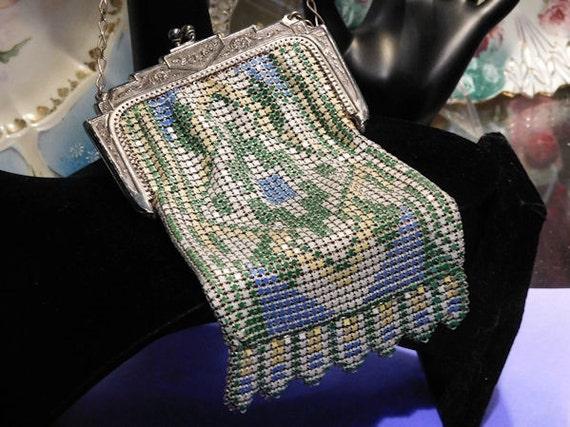 Whiting Davis Metal Mesh Enamel Handbag Purse Geometric Design / Van Dyke Fringe