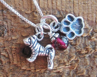Shar-Pei Necklace - Mini Paw Print Sterling Silver Necklace