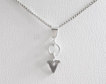 Initial Letter V Mini Pendant Charm and Necklace