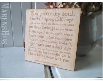 wooden sign with Jane Austen - Quote