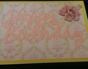 Happy Birthday Card Pink Flower