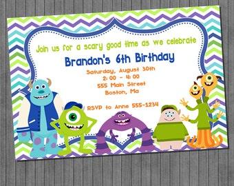 Monster University Birthday Party Invitation -