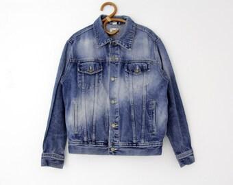 Vintage Jean Jacket // 90s Jacques Lorant Men's Denim Jacket