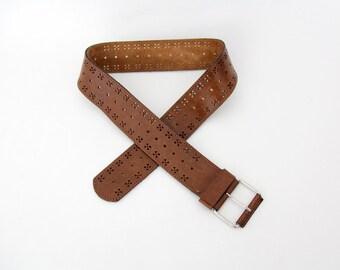 Vintage belt // brown leather perforated belt