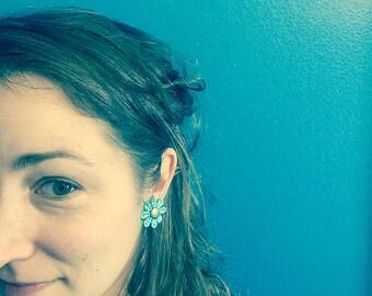"""SALE - Stud Earrings """"Pastel Flower"""" / Aqua, Purple, Orange, Yellow, Green, Pink / hypoallergenic stud earrings / Pastel Jewelry"""
