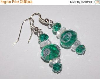 25%OFF Green Floral Lampwork Earrings