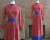 NY Fashion Week Sale 1960s psychedelic red paisley maxi dress • size small • Heidi in Wonderland