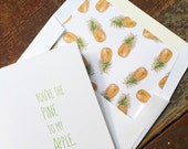 You're the Pine to my Apple - Greeting Card - Valentine's Day - Any Occasion Card - Lined envelope card