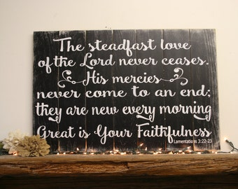 Great Is Your Faithfulness Wood Sign Pallet Sign Christian Wall Art Home  Decor Distressed Wood Sign