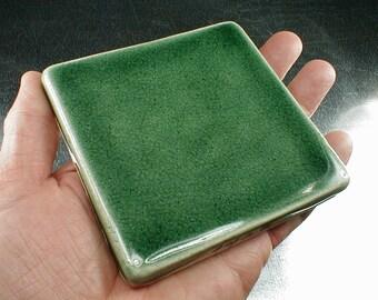 4x4 field tile with glossy pine forest green crackle glaze wall tiles, backsplash tile, fireplace tile, kitchen tile, art tile, green tiles