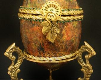 Fall Leaves Emu Egg Shell Trinket Box, Pysanky, Ukrainian Egg Art, Jewelry Box,