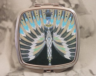 Erte Compact Mirror Silver-tone, The Nile Design Compact - Includes 4X5 Silver Sparkling Fabric Bag